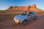 Tanya in our Saturn Vue in the middle of Utah