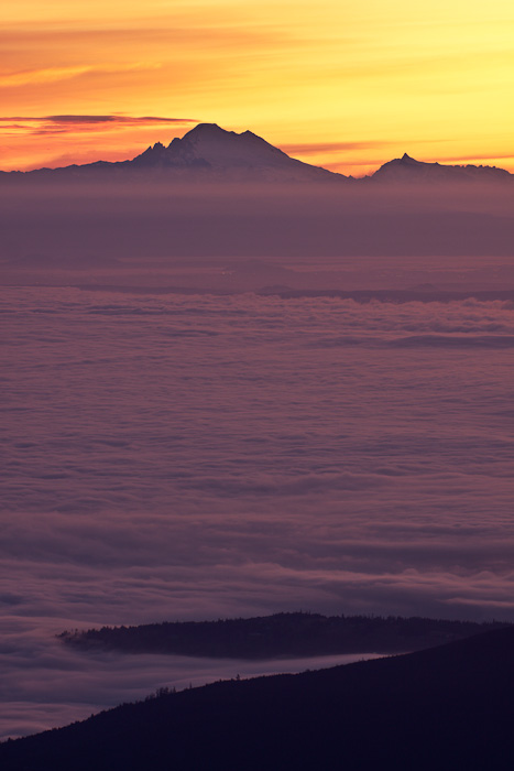 Early morning fog in the low lands and over Puget Sound