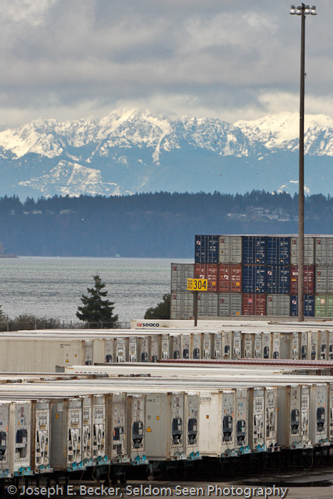 Containers and Olympic Mountains