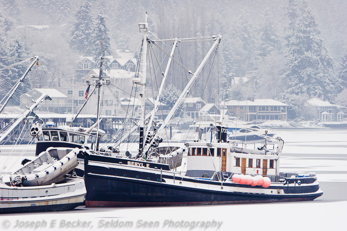 Fishing boat in winter at Gig Harbor,\