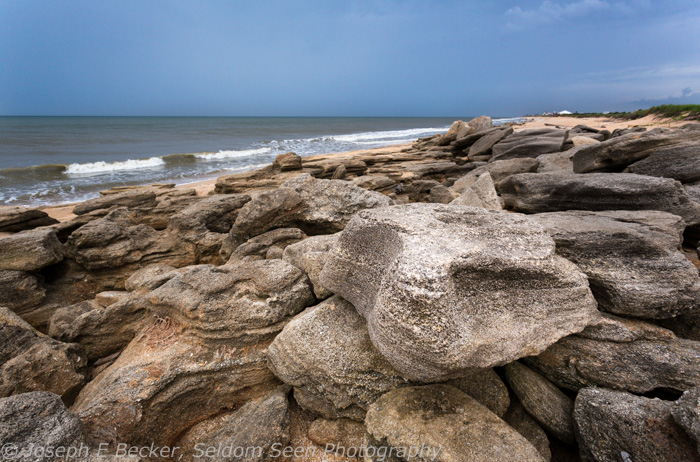 Coquina beach rocks