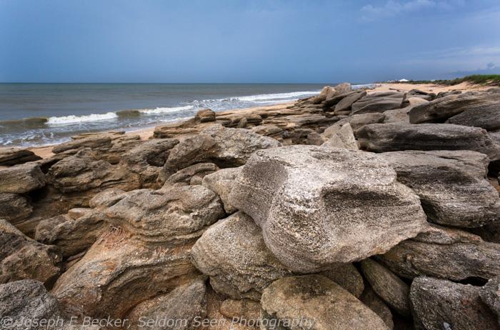Coquina beach rocks