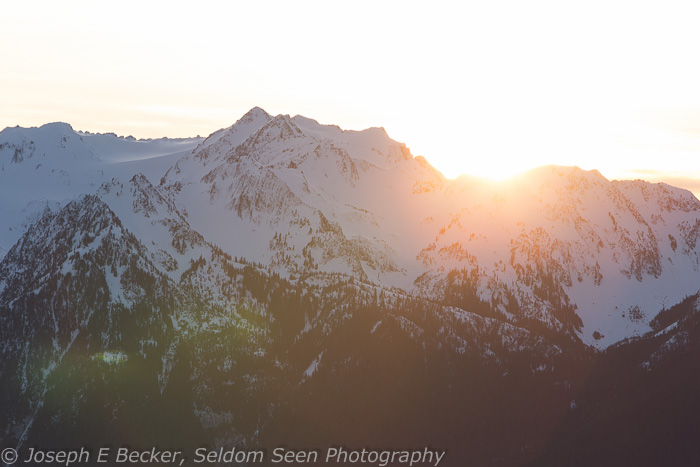 January - this image was taken at Hurricane Ridge in Olympic National Park. My intent here was to show the sun just peeking over the mountains as it set. The result is a washed out failure.