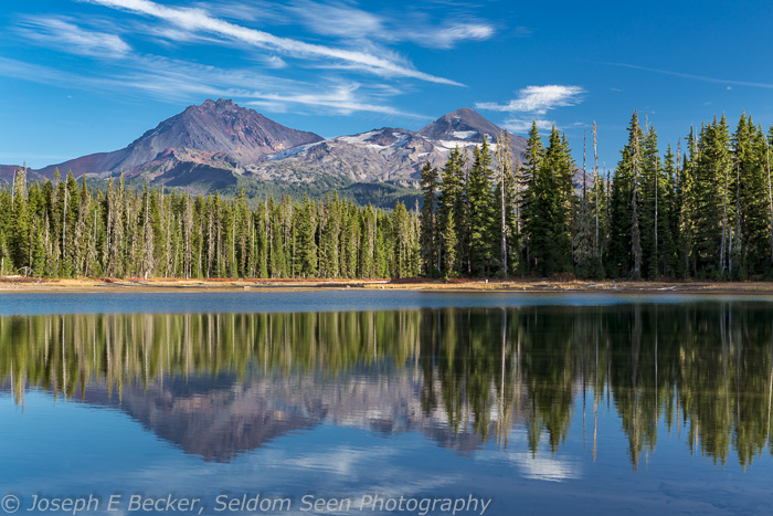 The Three Sisters reflected in Scott Lake