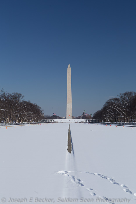 Washington Monument bulls eyed with tracks in the snow (no processing)