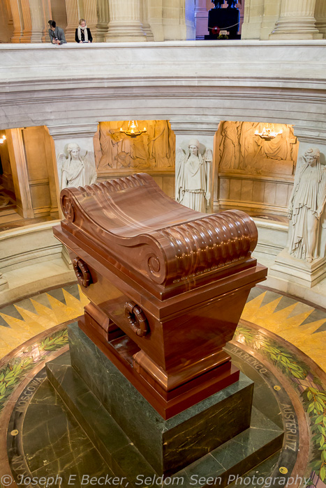 Napolean's Tomb, Les Invalides, Paris, France; taken at ISO 6400, f/4, 1/20 sec (supporting camera on a railing)