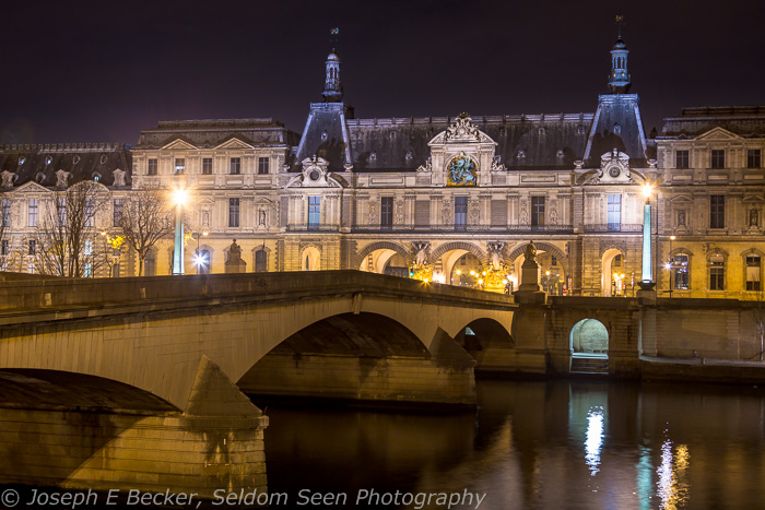 Louvre, the Seine River, and the Pont du Carrousel bridge