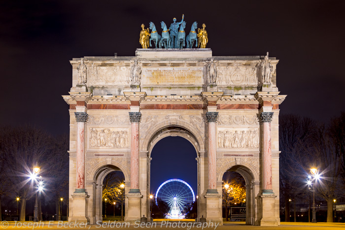 The Arc de Triomphe du Carrousel, just northeast of the Louvre