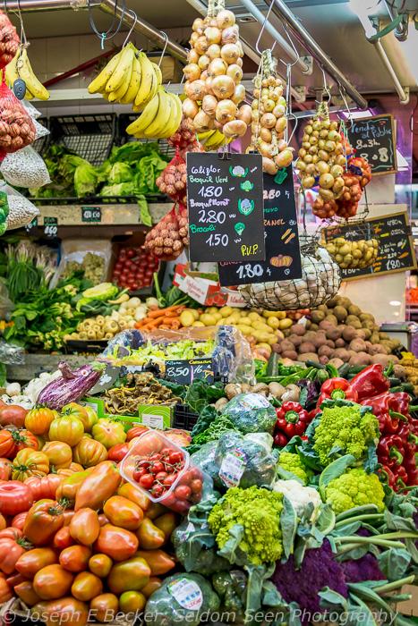 La Boqueria Market stall, Barcelona; ISO 3200, f/5, 1/200 sec