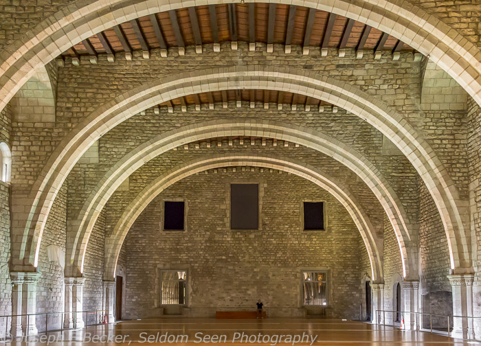 TInell Hall (Saló del Tinell), Greater Royal Palace, Barcelona; ISO 12,800, f/5, 1/10 sec (camera supported by railing)
