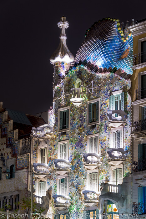 Casa Batlló, designed by Gaudí, on the Block of Discord, Bacelona