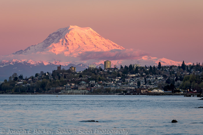 Mount Rainier just at sunset