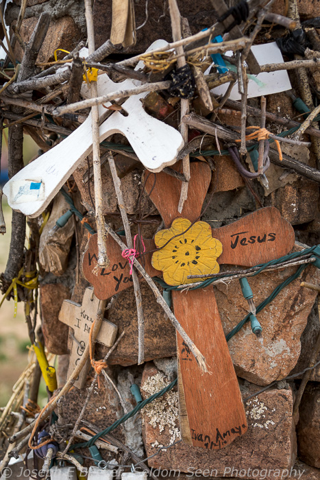 Certain parts of the grounds are full of crosses and other items left by pilgrims and visitors to the site.