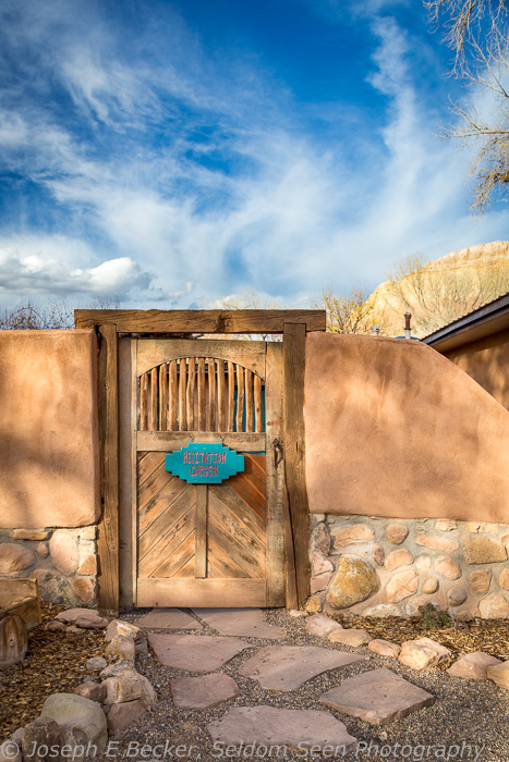 Door and adobe wall at Ghost Ranch
