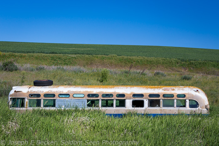 You never know what you might find in your explorations, like this bus in a field about half way between Tekao and Farmington.