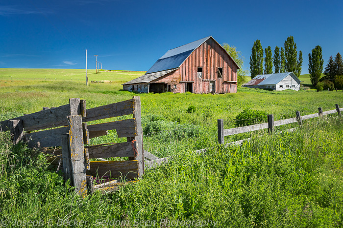 This old red barn is east of Oakesdale. Though this general portion of the Palouse is well covered by the maps, somehow they missed this one.