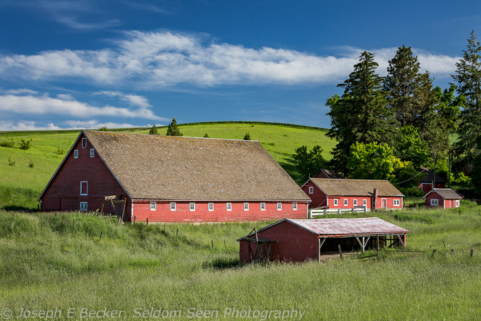 These red barns are near the small town of Johnson, Washington.