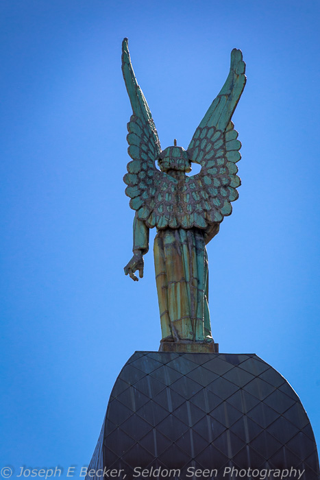 Angel on top of the Notre-Dame-de-Bon-Secours Chapel in Old Montreal