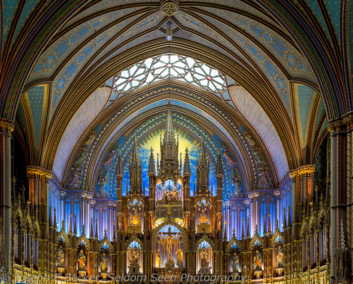 The altar in the Notre Dame Basilica