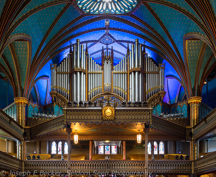 The organ and choir loft in the Notre Dame Basilica