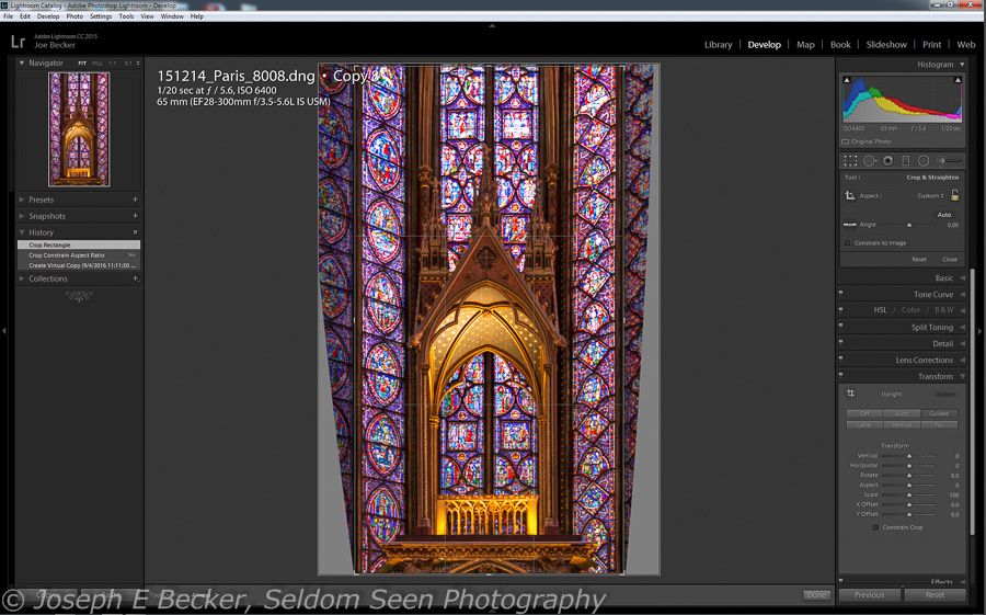 In this case, I wanted to show more of the stained glass windows, so I unlocked the aspect ratio and extended the crop upwards to make a vertical panorama. This crop resulted in my finished and featured image at the top of the post.