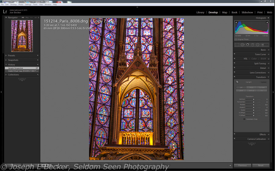 The image in Lightroom Develop module with the Transform panel open.