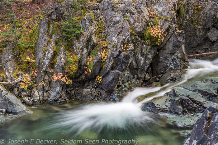 A bit of fall color along the North Fork Teanaway River near the trailhead.
