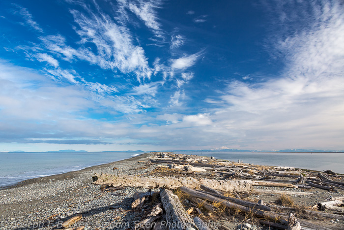 Dungeness Spit is long and thin. With a wide-angle lens, the lighthouse and Mount Baker are barely visible.