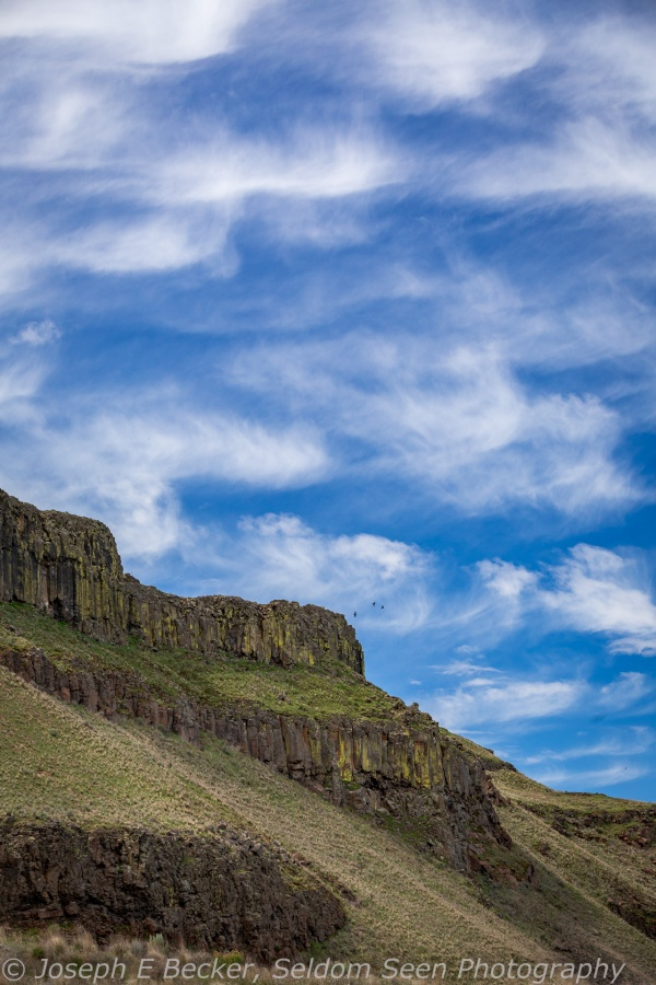 Clouds and basalt cliffs, Columbia National Wildlife Refuge, Washington